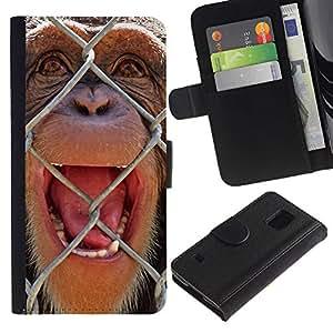 Samsung Galaxy S5 V SM-G900 - Dibujo PU billetera de cuero Funda Case Caso de la piel de la bolsa protectora Para (The Chimpanzee)