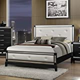 Roundhill Furniture Zimline Off White Faux Leather with Mirror Trim Bed, Queen