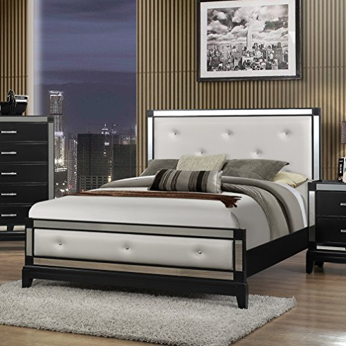 Roundhill Furniture Zimline Off White Faux Leather with Mirror Trim Bed, Queen by Roundhill Furniture