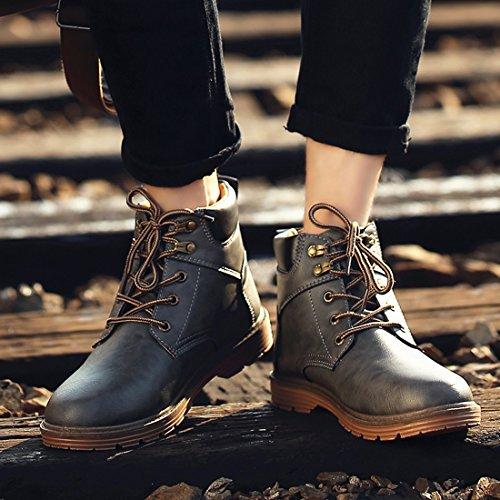 Santimon Mens Chukka Boots Läder Vattentäta Varma Vinterskor Halk Fotled Arbete Utomhus Vandringskänga Grå