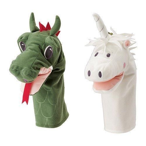 Ikea Hand Puppet Unicorn Dragon (Set of 2)