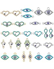 GraceAngie 30pcs Evil Eye Connectors Pendants Multi Shapes Blue Evil Eye Rhinestone Connector Bead Charms for Bracelet Necklace Crafts DIY, Gold and Silver