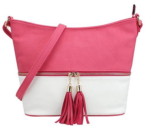 DELUXITY Medium Size Hobo Crossbody Bag with Tassel/Zipper Accent (Fuchsia/White)