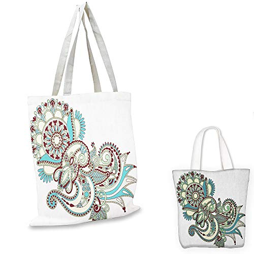 grocery bags Henna Hand Drawn Traditional Flower Arrangement Ornate Design Vibrant Colors Dark Brown Blue Green tote bag with zipper