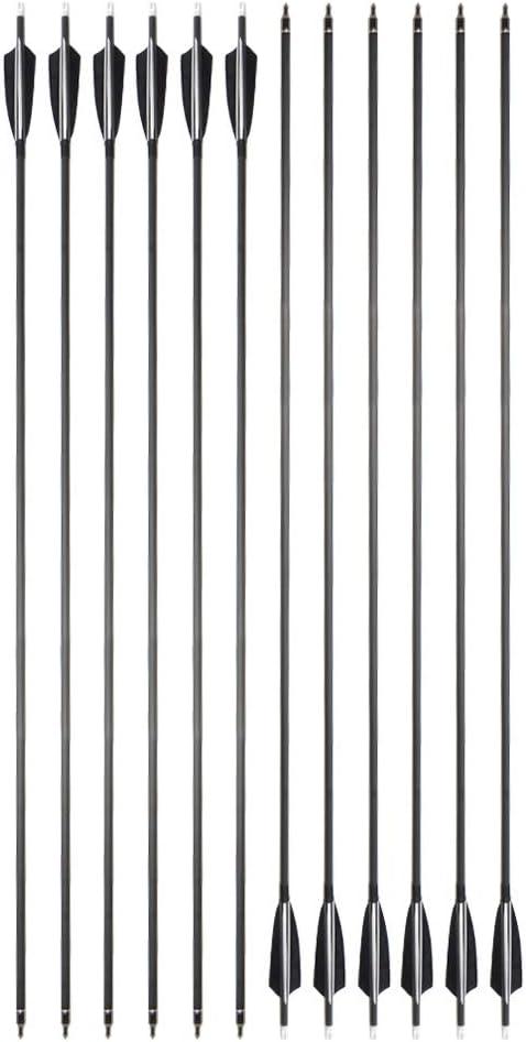 ZSHJG 12pcs Carbonpfeile f/ür Bogenschie/ßen 34 Zoll Jagdpfeile Spine 500 Bogenpfeile mit Pfeilk/öcher f/ür Compound und Recurve Bogen Pfeile f/ür Bogensport