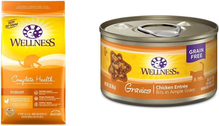 Wellness Complete Health Natural Dry Cat Food, Indoor Chicken Recipe, 6-Pound Bag + Canned Cat Food, Chicken Dinner, 3 Ounces (Pack of 12)
