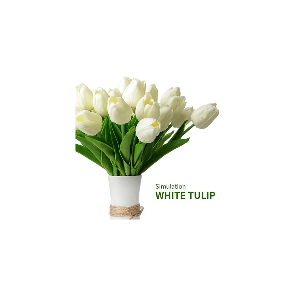 Zebery 30 pcs Real-Touch Artificial Tulip Flowers Home Decorations for Wedding Party or Birthday Garden Bridal Bouquet Flower Saint Party Event