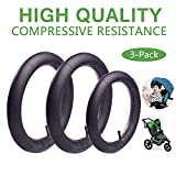 16'' x 1.75/2.15 Back and 12.5'' x 1.75/2.15 Front Wheel Replacement Inner Tubes for BoB Revolution SE/Pro/Flex/SU/Ironman - Made from BPA/Latex Free Premium Quality Butyl Rubber (3-Pack) (Black)