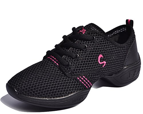 Trainers Lace Modern 5 Women's Size Black Outdoor Walking 2 Pink Running Dance Shoes Lightweight up Shoes 8 Ultra Fitness HiTime qYxTwYX