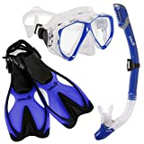 Diving Gear - Snorkel Mask & Fins Set - Includes Double Lens Snorkel Mask; Snorkel w/Dry Top, Lower Purge Valve & Flexible Mouthpiece; & Adjustable Speed Fins