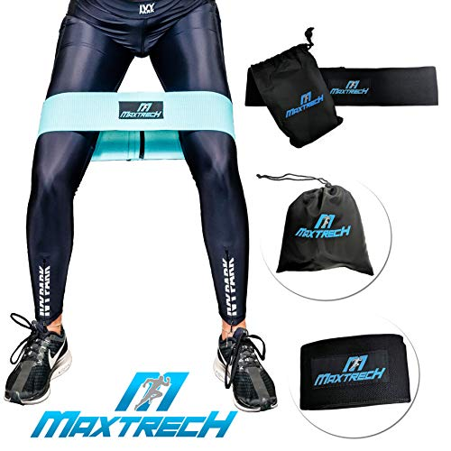 MAXTRECH - Hip Band Fitness Resistance for Weight Lifting Training, Butt, Thigh & Leg Exercises - Muscle Strengthening & Toning Stretch Circle for Women & Men (Large, Black)