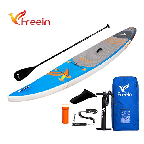 "FreeinBoard Inflatable Stand Up Paddle Board, Racer SUP Board of 12'6"" Long 30"" Wide 6"" Thick by Freein Board"