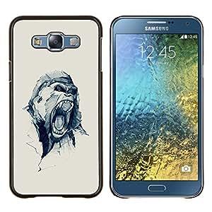 Oh broche amor del corazón del lunar- Metal de aluminio y de plástico duro Caja del teléfono - Negro - Samsung Galaxy E7 / SM-E700