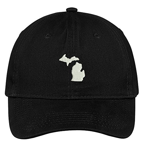 Michigan State Map Embroidered Low Profile Soft Cotton Brushed Baseball Cap - Black ()