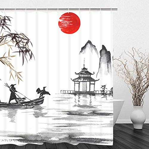 BLEUM CADE Man with Boat and Bamboo Leaves Pavilion Ink Painting Shower Curtain Set with 12 Hooks, Durable Waterproof Fabric Bathroom Curtain]()