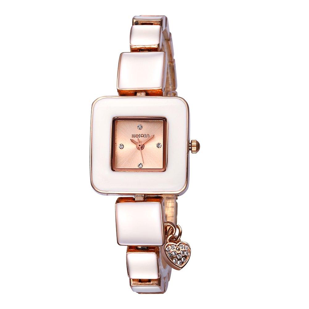 AStarsport Women Ladies Classical Casual Cute Square case with Rhinestone Love Pendant Women's Dress Watches Fashion Wrist Watch