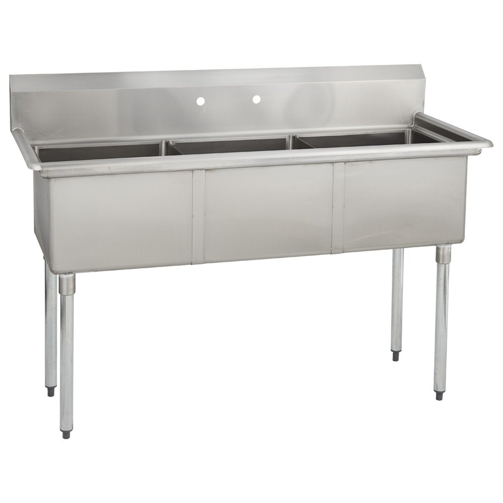 Fenix Sol 16G-3C16X20 Three Compartment Stainless Steel Sink, Bowl: 16''L x 20''W x 14''D, Overall Size: 53''L x 25.8''W x 43''H, No Drainboards, Galv Legs
