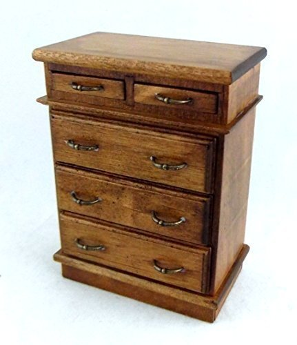 - Melody Jane Dolls Houses House Miniature 1:12 Scale Bedroom Furniture Walnut Wood Chest Drawers