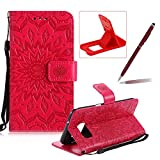Wallet Case for Samsung Galaxy S7 Edge,Strap Flip Case for Samsung Galaxy S7 Edge,Herzzer Retro Elegant [Red Mandala Flower Pattern] Stand Function Magnetic Smart Leather Case with Soft Inner for Samsung Galaxy S7 Edge + 1 x Free Red Cellphone Kickstand + 1 x Free Claret-Red Stylus Pen