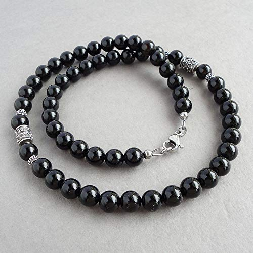 8mm Black Onyx Mens Necklace - Sterling Silver Accents - Beaded Gemstone Jewelry - Handmade