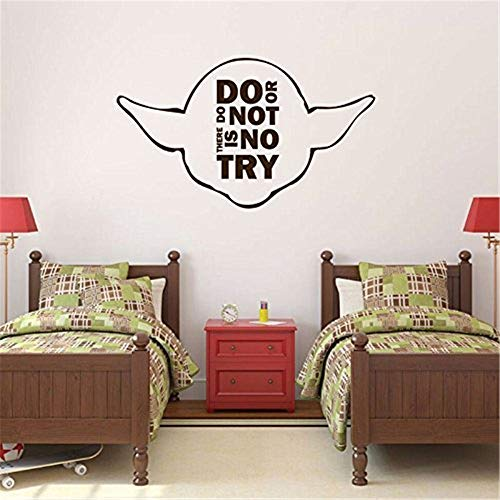 qenaud Wall Stickers Design Art Words Sayings Removable Lettering Do Or Do Not There is No Try with Yoda Image Vinyl Home Wall Decor for Living Room Bedroom]()