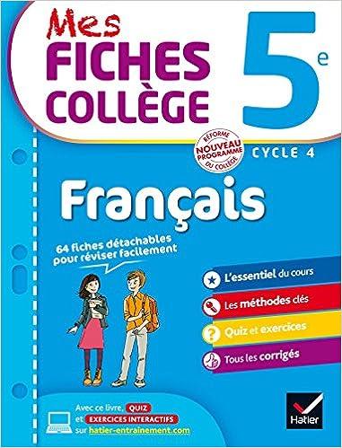 Mes Fiches College Francais 5e 40 Fiches De Revision Et 120
