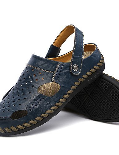 ShangYi Herren Sandaletten Herrenschuhe-Outddor / Lässig-Sandalen-Leder-Blau / Braun / Khaki blue