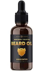 Beard Oil Conditioner - Unscented All Natural Virgin Argan, Jojoba, Grapeseed Oils & More for Beard Growth - Softens & Strengthens Beards & Mustaches for Men - Premium Signature Prime Beard Blend