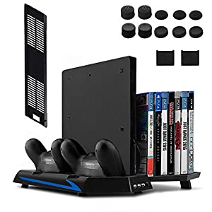 [Newest Version] Keten Vertical Stand for PS4 Slim / PS4 with Cooling Fan 2 in 1 Controller Charging Station/ Game Storage 3 Port USB Hub - An All-In-One Area for All Your Gaming Needs from Keten