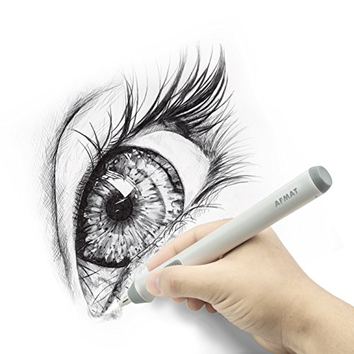 Electric eraser used for cleaning up this sketch of an eye.