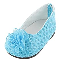 Blue Flat PU Shoes with Flowers Dolly Pumps Clothes Accessories for 18 inch American Girl Our Generation Gotz Journey Dolls