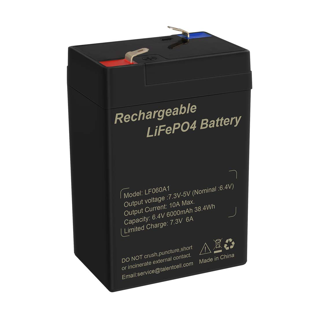 TalentCell 6V 6Ah Rechargeable Lithium Iron Phosphate (LiFePO4) Battery Pack by Talentcell