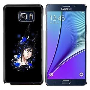 Caucho caso de Shell duro de la cubierta de accesorios de protección BY RAYDREAMMM - Samsung Galaxy Note 5 5th N9200 - Rose Chica Anime Sexy Azul