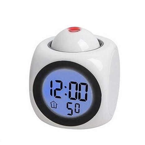 Reloj de proyección, Reloj de proyección multifunción Que Habla LED Alarma de proyección Colorida Reloj