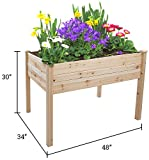 Trademark Innovations Tool Free Assembly Raised Fir Wood Garden Planter - 48''L x 34''W x 30''H