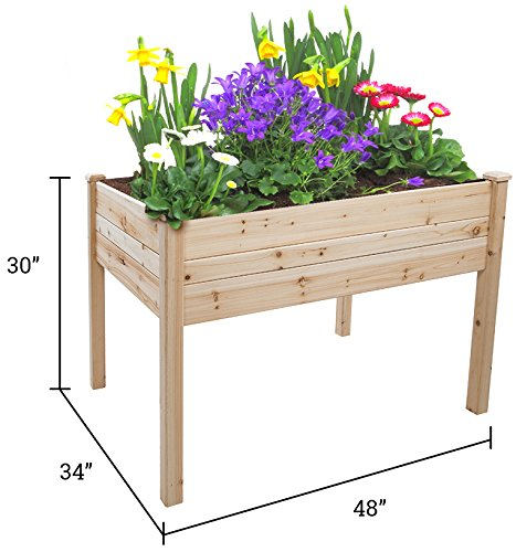 Trademark Innovations Tool Free Assembly Raised Fir Wood Garden Planter - 48''L x 34''W x 30''H by Trademark Innovations