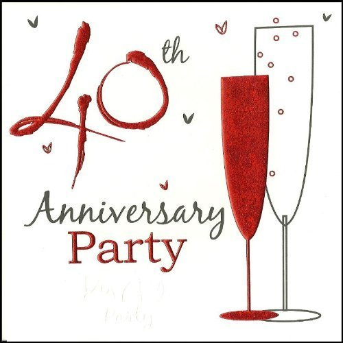 Pack Of 40th Ruby Wedding Anniversary Party Invitations With
