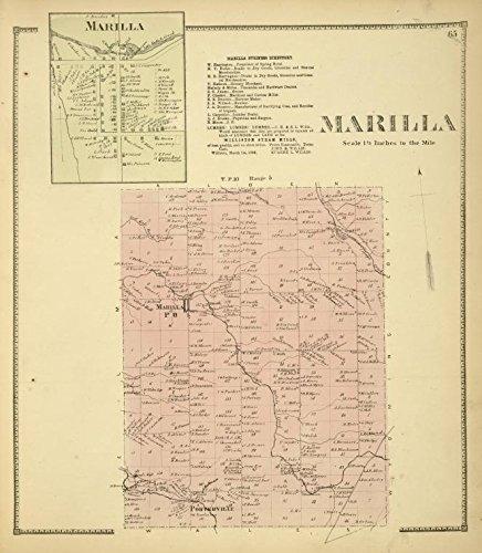 Historic 1866 Map   Marilla [Village]; Marilla Business Directory; Marilla [Township   Antique Vintage Map Reproduction