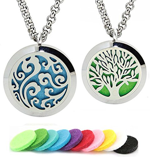2pcs Aromatherapy Essential Oil Diffuser Necklace Locket Round Pendant with 24