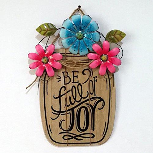 Easter Decorations, Wooden Metal Hanging Board Flower Basket