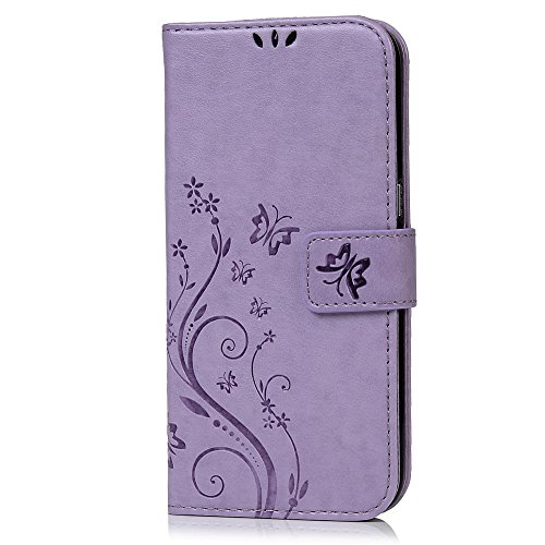 Price comparison product image Galaxy S7 Edge Case - Mavis's Diary Embossed Wallet Fashion Floral Butterfly PU Leather Magnetic Flip Cover Card Holders & Hand Strap for Samsung Galaxy S7 Edge with Bling Dust Plug & Pen - Violet