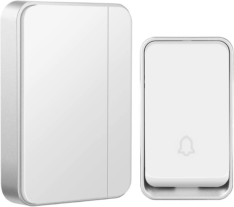 【No Battery Required】Wireless Doorbell Waterproof, AURTEC Door Chime Kit with 1 Receivers & 1 Press Self-powered Transmitter, 51 Chimes and 4 Volume Levels, White…