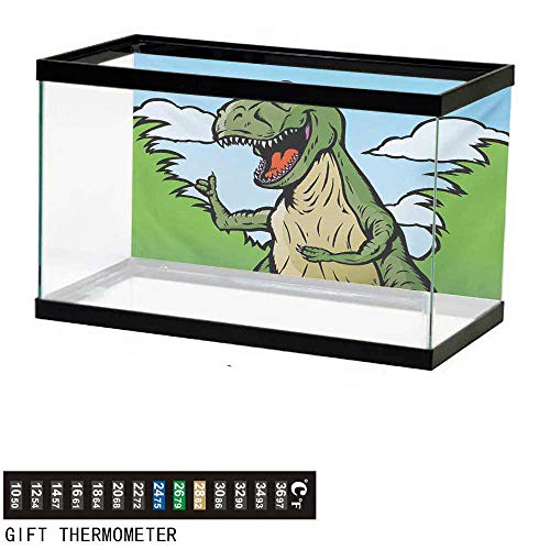 (Aquarium Background,Dinosaur,Cartoon T-Rex with Funny Face Giving Thumps Up Clouds Trees Sky,Green Dark Green Pale Blue Fish Tank Backdrop 36