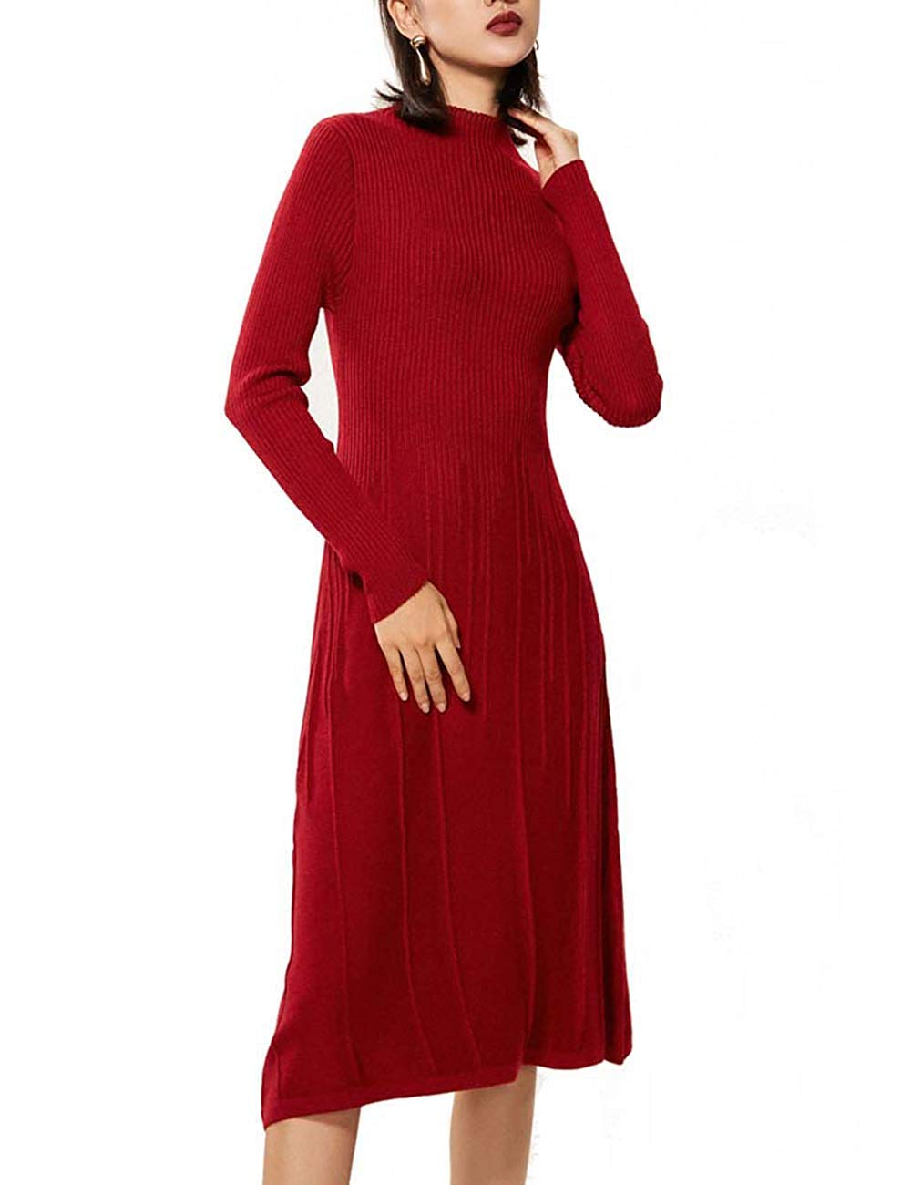 e4bf4095e12 50% discount on RanRui Midi Dress Womens Knitted V Neck Cashmere ...