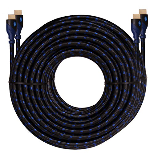 High Speed HDMI Cable 50 FT (2Pack), KAYO HDMI2.0b CL3 Rated(In-Wall Installation) Cord Supports 4K@60Hz,3D,Full HD,HDCP 2.2,2160p With Ethernet-Audio Return-Latest Version,Free Cable Tie (50FT- 2PK) ()