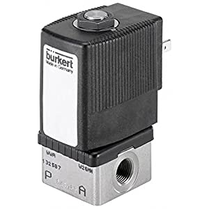 "Burkert 293173 1/8"" Type 6013 Stainless Steel 316L Solenoid Valve, 24V/DC NSF, Drinking Water, General Purpose, Direct Acting Plunger Style, 87 psi"