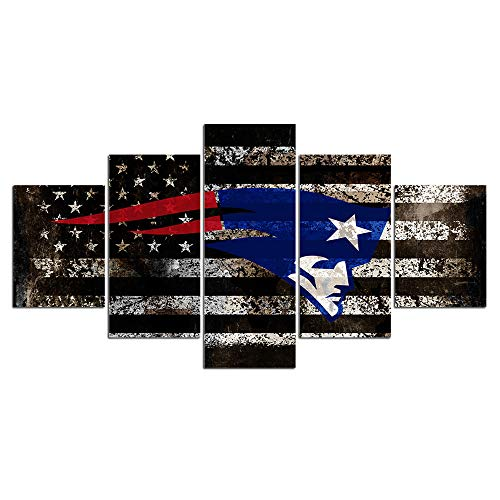 Chicicio New England Patriots NFL Team Logo Wall Decor Art Paintings 5 Piece Canvas Picture Artwork Living Room American Football Prints Poster Decoration Wooden Framed(60''Wx32''H) - Patriots Team Photo