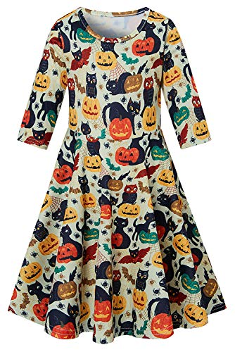 Big Girls' Halloween Dresses Cute Cat and Owl 3D Printing Funny Donut A-line Sundress Long Sleeve White One Piece Stripe Crew Neck Daily Sundress for 10-13 ()