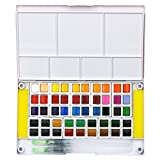 Watercolor Paint Set - 48 Vibrant Color- Portable Travel Mini Watercolor Kit Includes 2 Water Brushes - 2 Sponges & Mixing Palette - Perfect for Budding Hobbyists & Artists