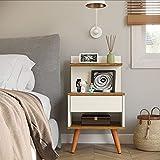 Mesa de Cabeceira Retrô Com 1 Gaveta Sleep Decor - Off White/Nature